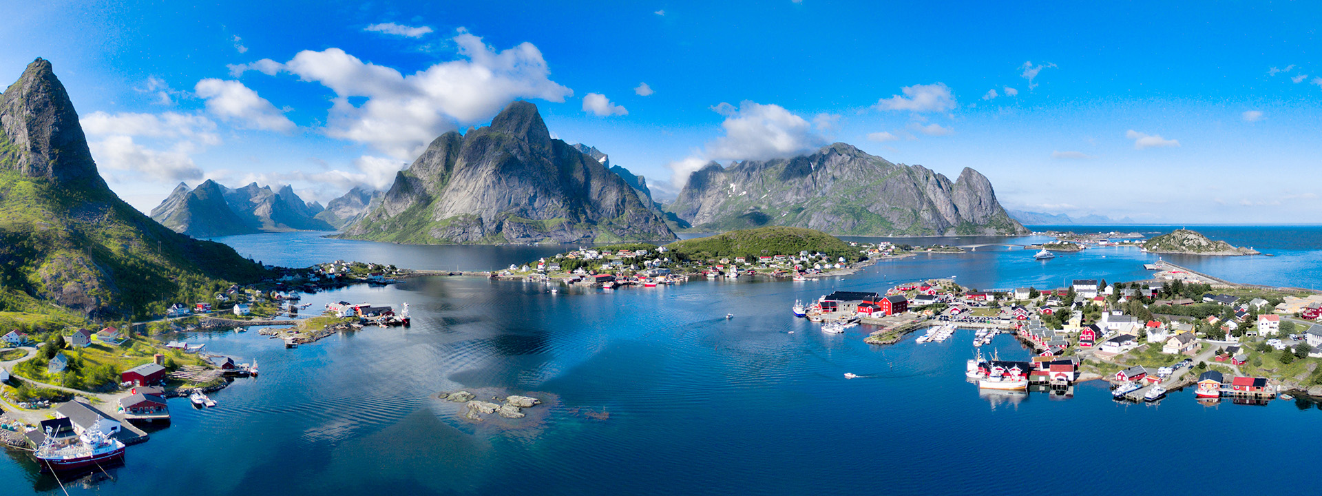 Aerial panorama of Reine, scenic fishing town on Lofoten islands in Norway